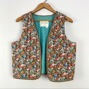 Vintage Light Green Handmade Quilted Floral Vest S